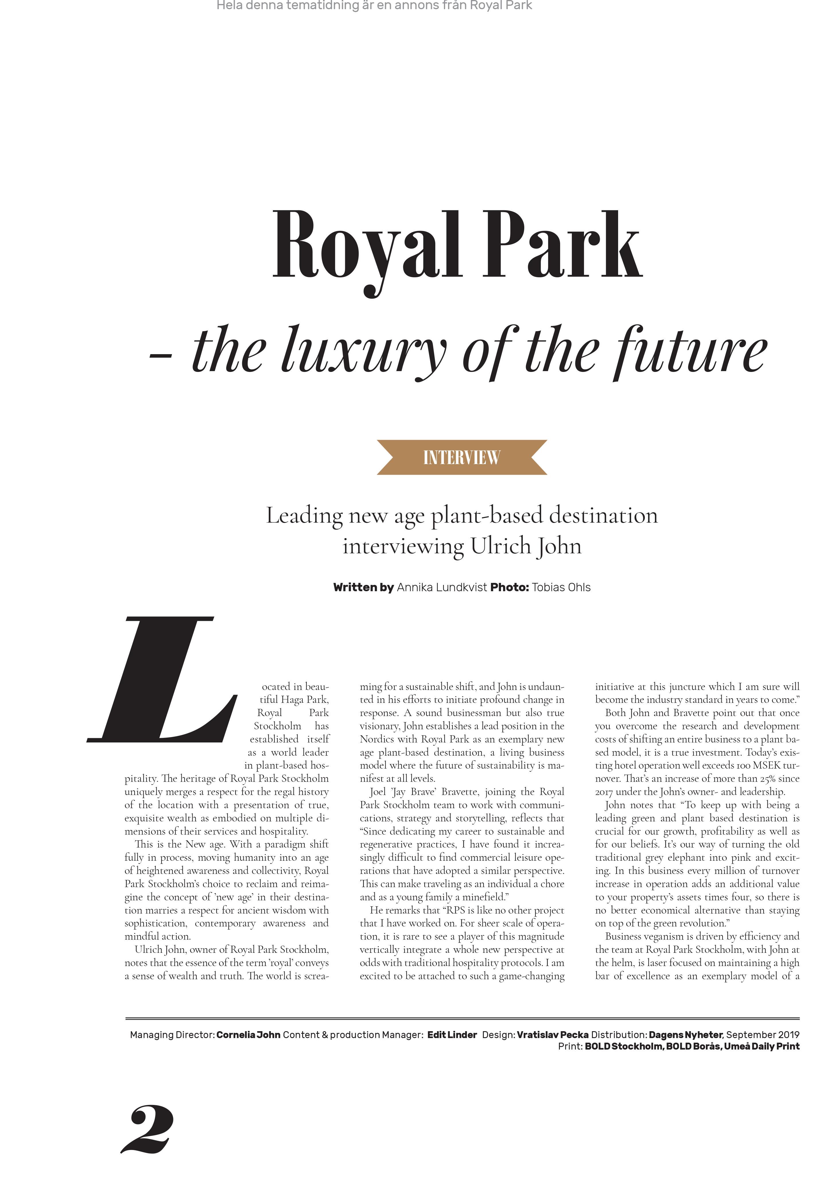 Royal Park Articles in Dagens Nyheter